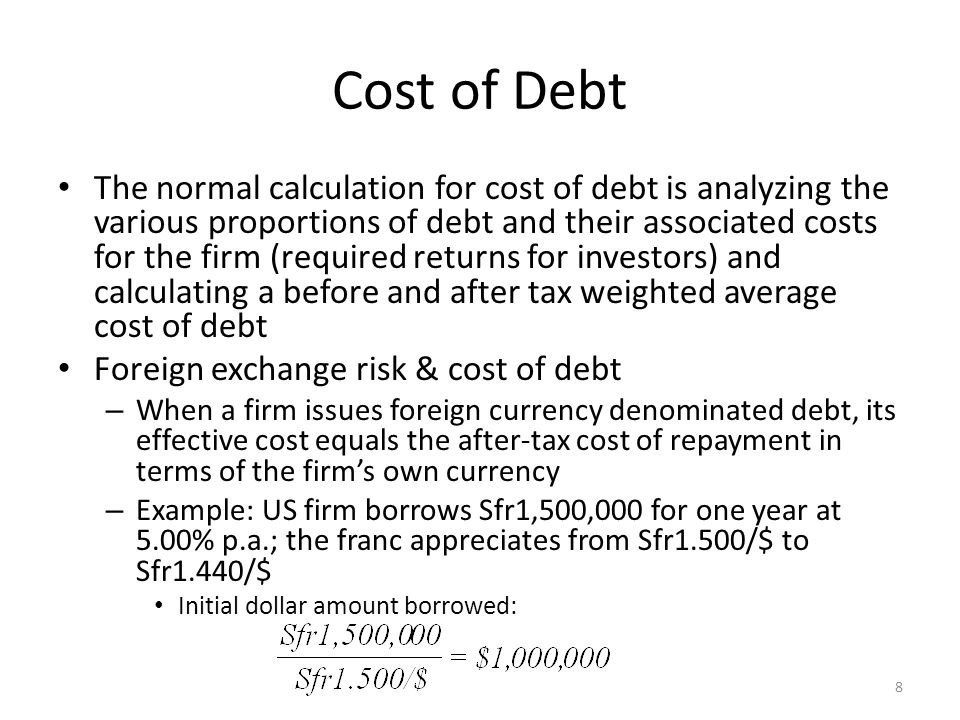 Cost of Debt At the end of the year, the US firm repays the interest plus principal The actual dollar cost of the loan is not the nominal 5.00% paid in Swiss francs, but 9.375% 9