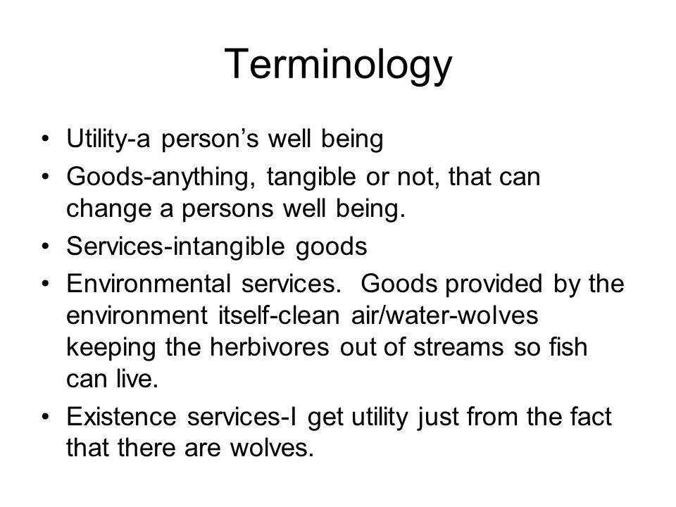 Terminology Utility-a persons well being Goods-anything, tangible or not, that can change a persons well being.