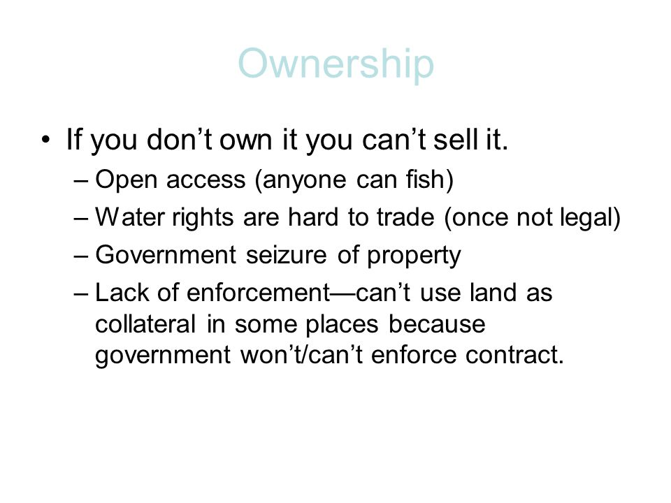 Open Access Is rival –If I catch the fish you dont Is not excludable