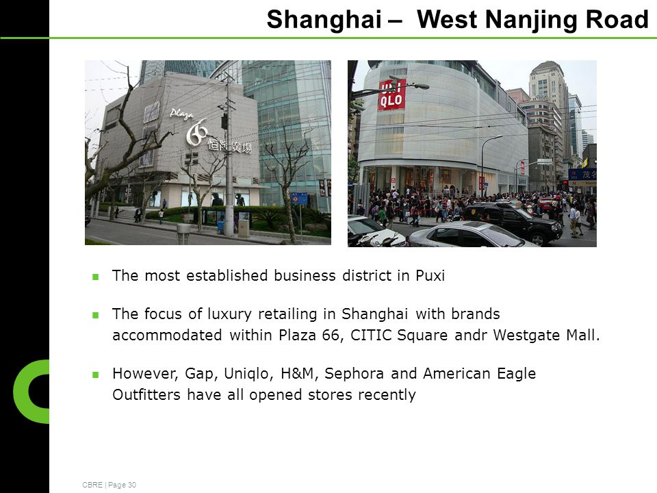 CBRE | Page 30 Shanghai – West Nanjing Road The most established business district in Puxi The focus of luxury retailing in Shanghai with brands accommodated within Plaza 66, CITIC Square andr Westgate Mall.