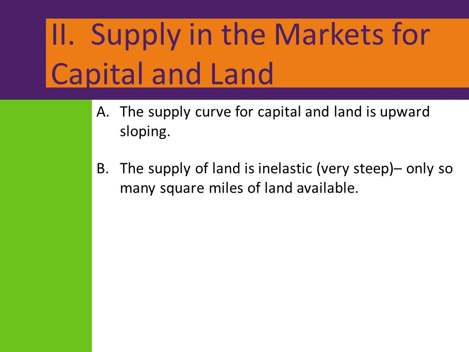 II. Supply in the Markets for Capital and Land A.The supply curve for capital and land is upward sloping. B.The supply of land is inelastic (very stee