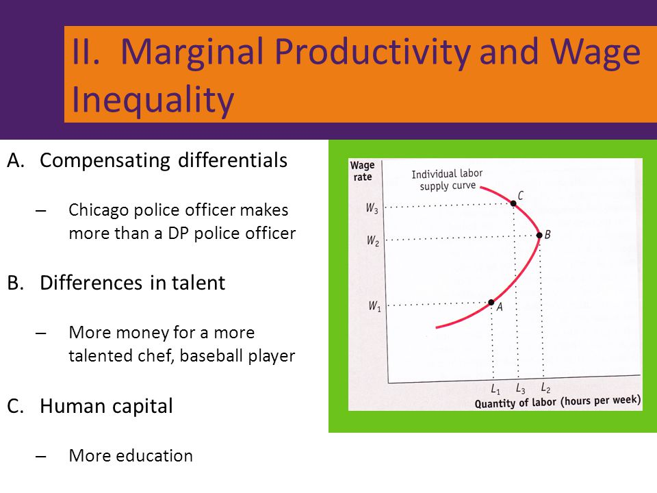 II. Marginal Productivity and Wage Inequality A.Compensating differentials – Chicago police officer makes more than a DP police officer B.Differences