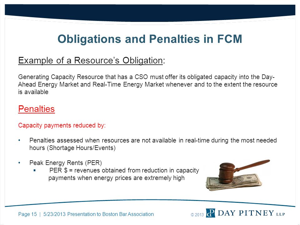 Page 15 | 5/23/2013 Presentation to Boston Bar Association © 2013 Obligations and Penalties in FCM Example of a Resources Obligation: Generating Capac