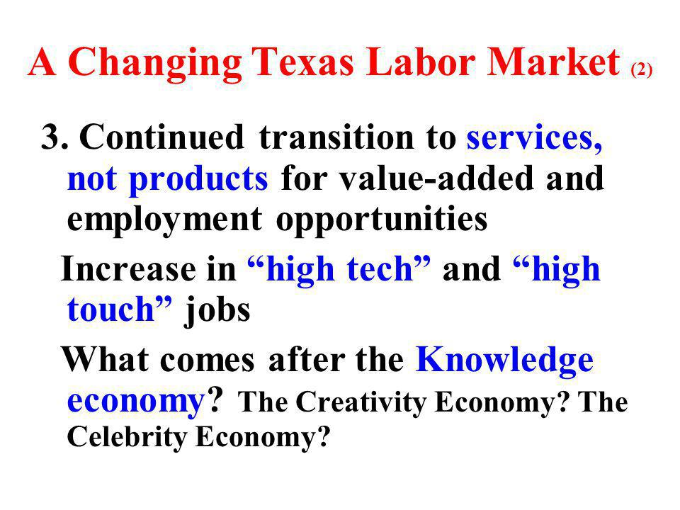 A Changing Texas Labor Market (2) 3.