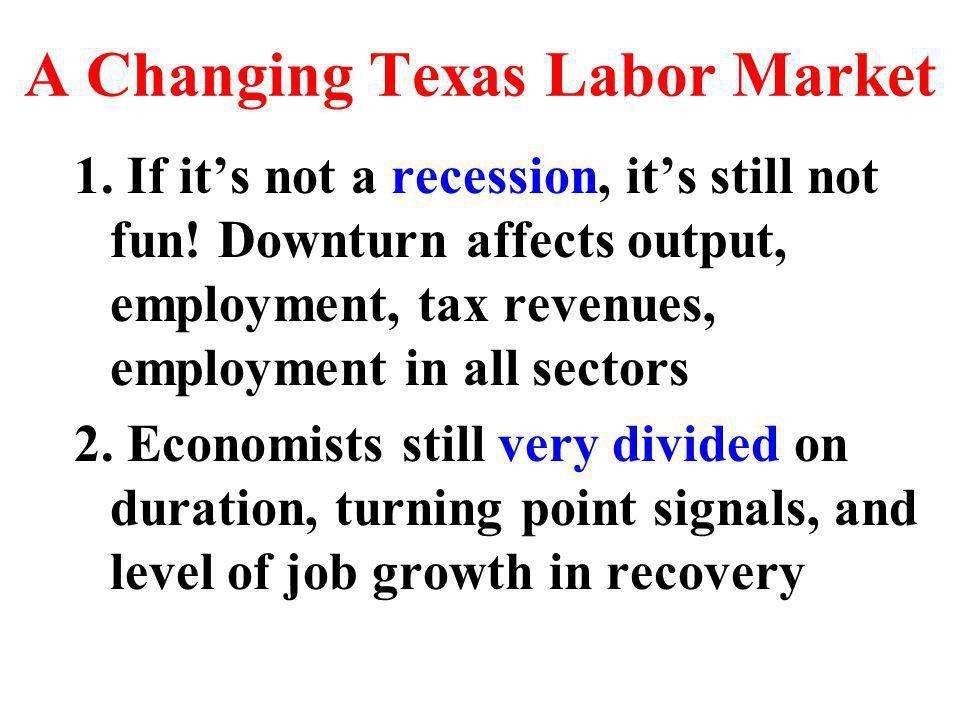 More Jobs in Services… Texas Absolute Job Growth 1999-2002 Educational Services Food Services/Drinking Places Ambulatory Health Care Services Professional and Technical Services Local Government Specialty Trade Contractors General Merchandise Stores Hospitals Heavy and Civil Construction Motor Vehicle and Parts Dealers