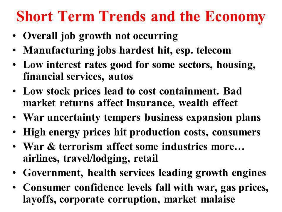 Short Term Trends and the Economy Overall job growth not occurring Manufacturing jobs hardest hit, esp.