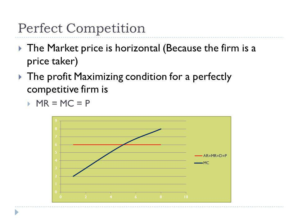 Perfect Competition The Market price is horizontal (Because the firm is a price taker) The profit Maximizing condition for a perfectly competitive firm is MR = MC = P