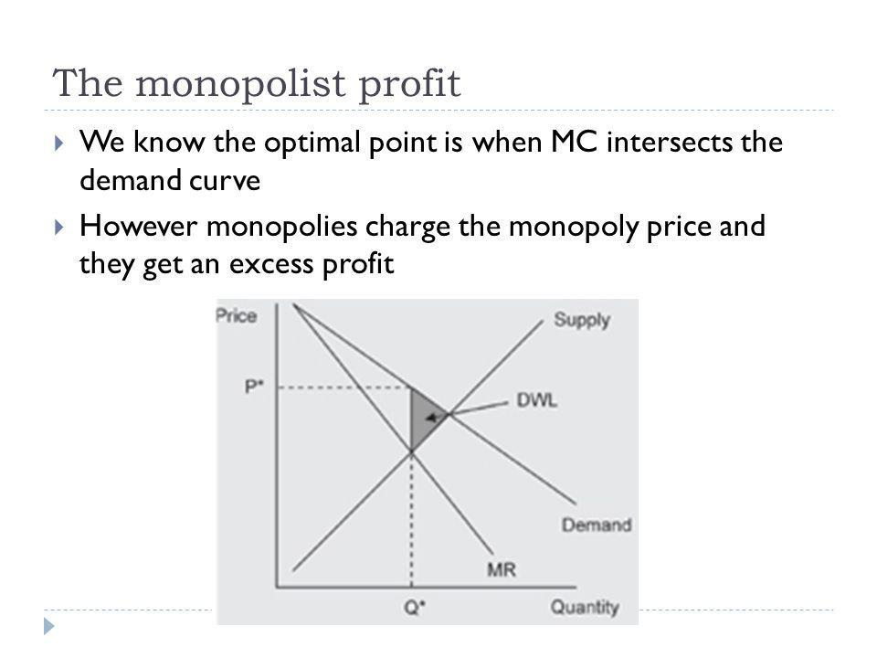 The monopolist profit We know the optimal point is when MC intersects the demand curve However monopolies charge the monopoly price and they get an ex