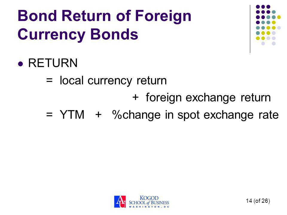 14 (of 26) Bond Return of Foreign Currency Bonds RETURN = local currency return + foreign exchange return = YTM + %change in spot exchange rate