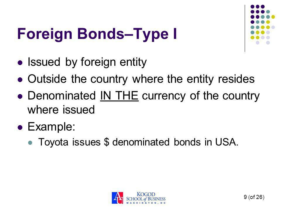 10 (of 26) Foreign Bonds–Type II Issued by foreign entity Outside the country where the entity resides Denominated in currency OTHER THAN THAT of the country where issued Example: Toyota issues Yen denominated bonds in USA
