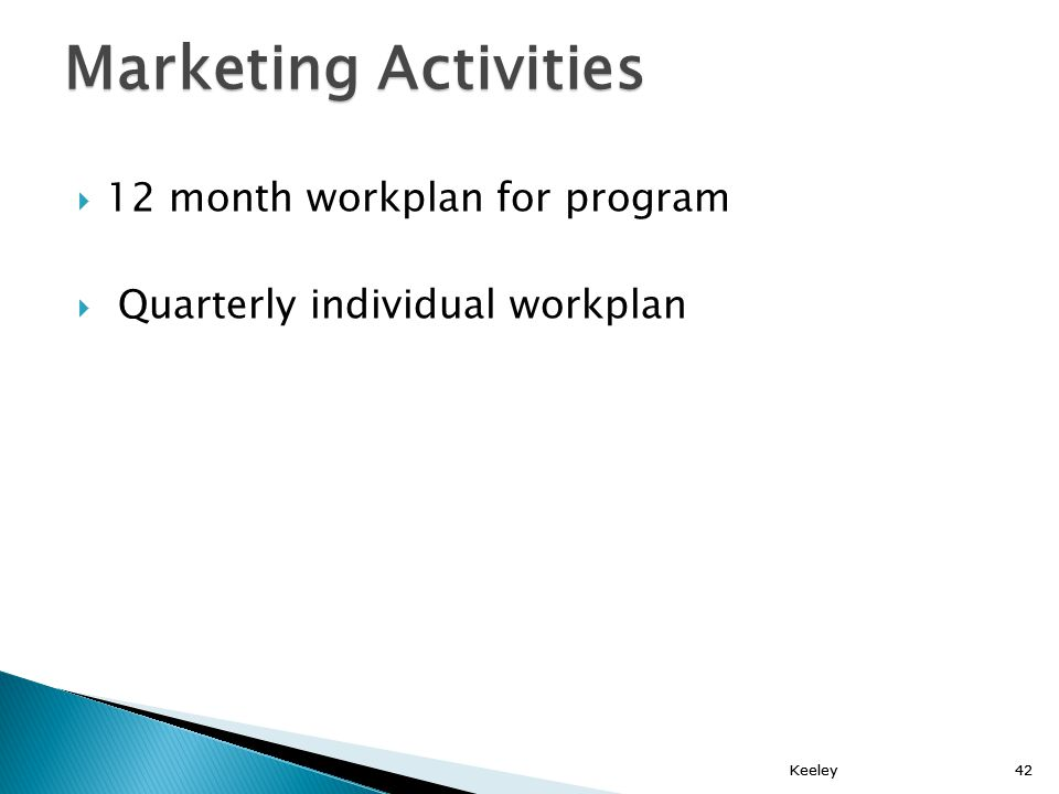 Keeley42 12 month workplan for program Quarterly individual workplan Keeley42 Marketing Activities