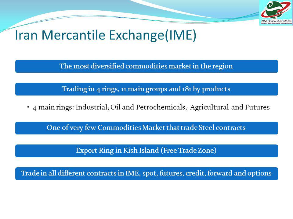 Iran Mercantile Exchange Date of establishment: 2007 # of brokers: 75 Traded commodities: Metal & Industrial: Steel, Copper, Aluminum, Minerals, Gold Multi-commodity: Bitumen group, and agricultural: Cereals, Oil cake and seeds group, Dried and trans products, Crop group Petrochemical and Oil Products:, Chemical products, Polymer group, Extract group, Oil group, Naphtha group