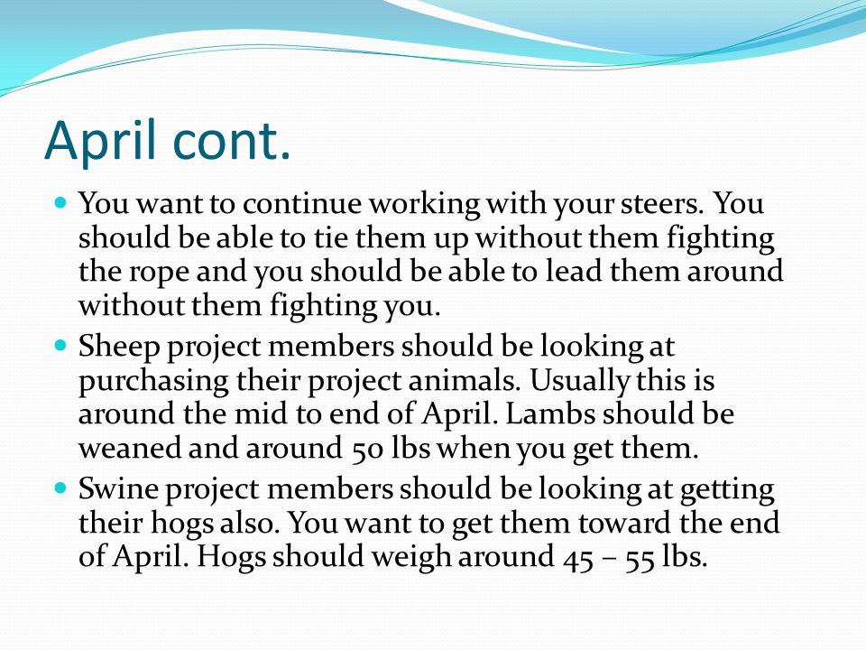 April cont. You want to continue working with your steers.