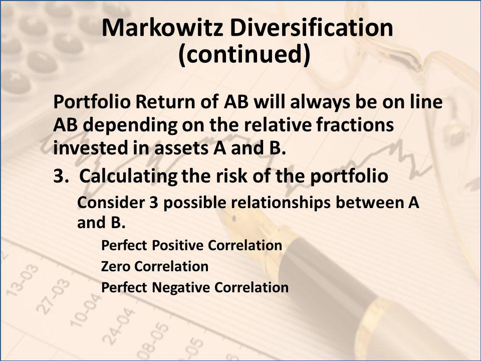 Markowitz Diversification (continued) Portfolio Return of AB will always be on line AB depending on the relative fractions invested in assets A and B.