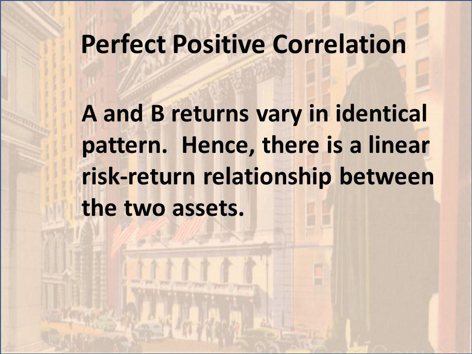 Perfect Positive Correlation A and B returns vary in identical pattern. Hence, there is a linear risk-return relationship between the two assets.