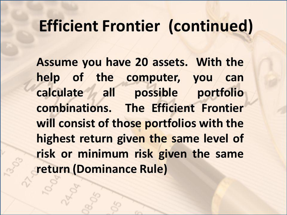 Efficient Frontier (continued) Assume you have 20 assets. With the help of the computer, you can calculate all possible portfolio combinations. The Ef
