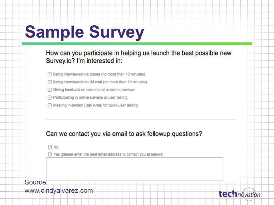 Sample Survey Source: www.cindyalvarez.com