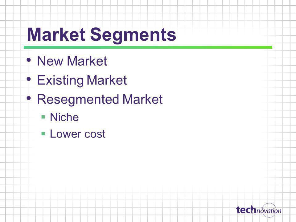 Market Segments New Market Existing Market Resegmented Market Niche Lower cost