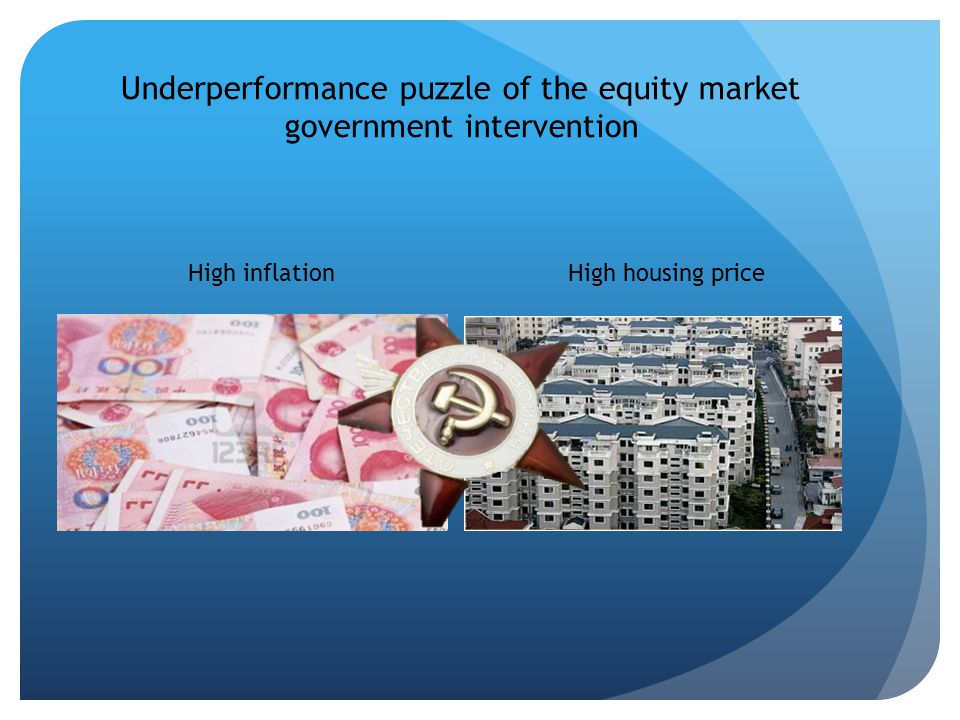 Underperformance puzzle of the equity market government intervention High inflationHigh housing price