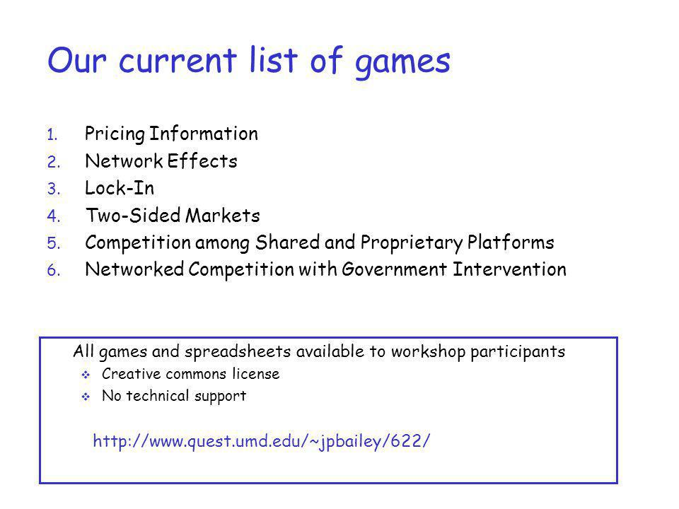 Our current list of games 1. Pricing Information 2. Network Effects 3. Lock-In 4. Two-Sided Markets 5. Competition among Shared and Proprietary Platfo