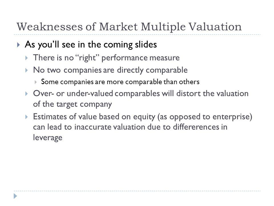 Weaknesses of Market Multiple Valuation As youll see in the coming slides There is no right performance measure No two companies are directly comparable Some companies are more comparable than others Over- or under-valued comparables will distort the valuation of the target company Estimates of value based on equity (as opposed to enterprise) can lead to inaccurate valuation due to differerences in leverage