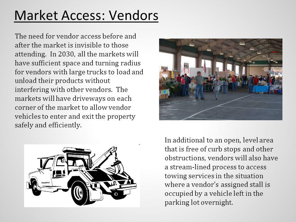 Market Access: Vendors The need for vendor access before and after the market is invisible to those attending.