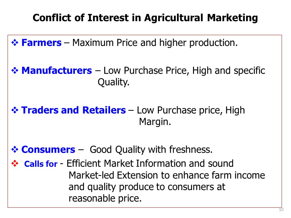 Conflict of Interest in Agricultural Marketing Farmers – Maximum Price and higher production.