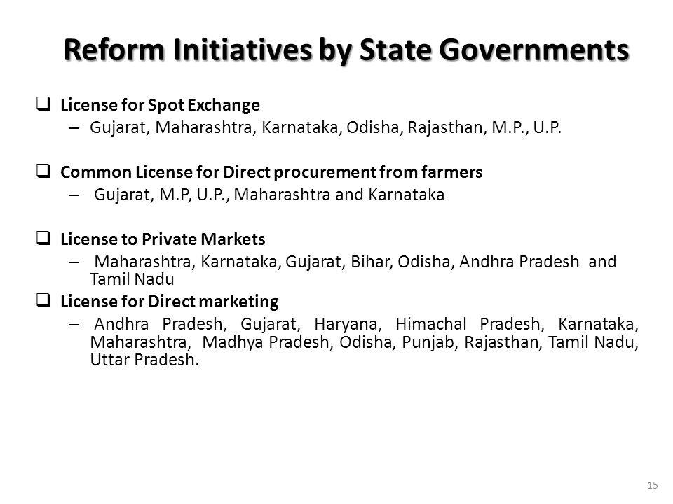 Reform Initiatives by State Governments Reform Initiatives by State Governments License for Spot Exchange – Gujarat, Maharashtra, Karnataka, Odisha, Rajasthan, M.P., U.P.