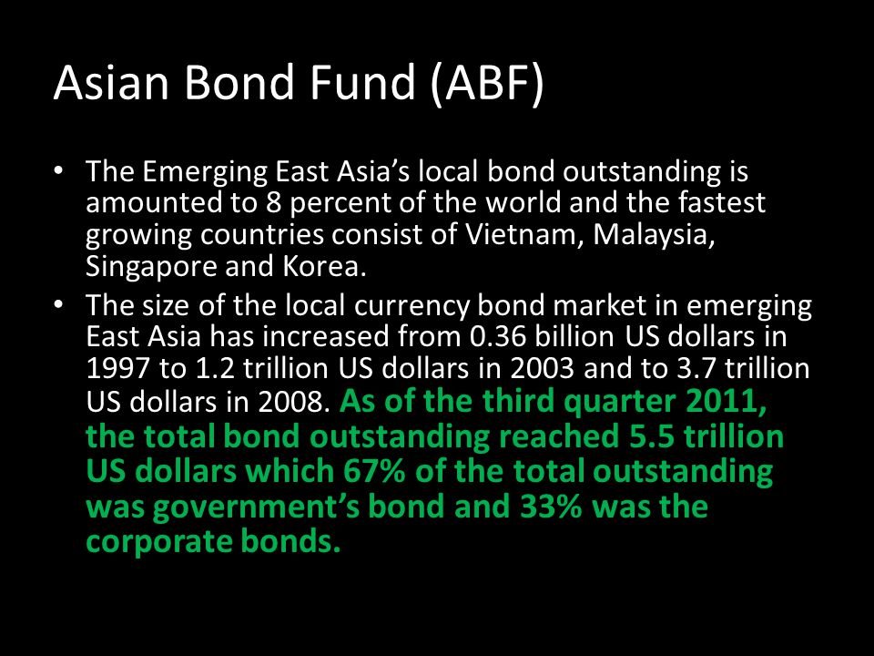 Asian Bond Fund (ABF) The Emerging East Asias local bond outstanding is amounted to 8 percent of the world and the fastest growing countries consist o
