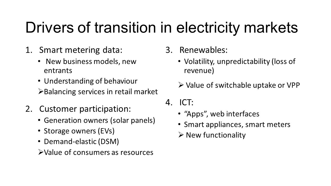 Drivers of transition in electricity markets 1.Smart metering data: New business models, new entrants Understanding of behaviour Balancing services in