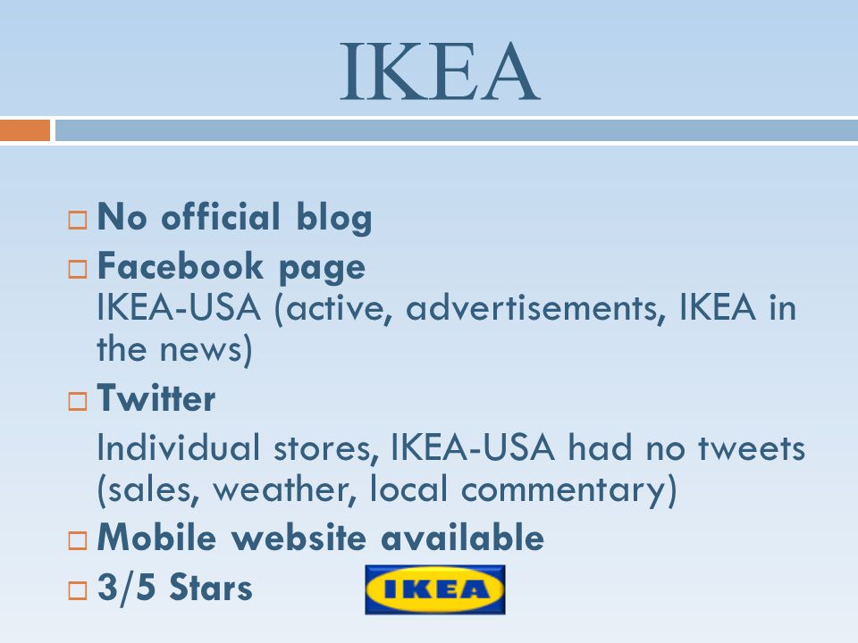 IKEA No official blog Facebook page IKEA-USA (active, advertisements, IKEA in the news) Twitter Individual stores, IKEA-USA had no tweets (sales, weather, local commentary) Mobile website available 3/5 Stars