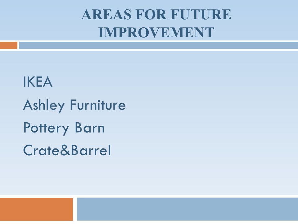 AREAS FOR FUTURE IMPROVEMENT IKEA Ashley Furniture Pottery Barn Crate&Barrel