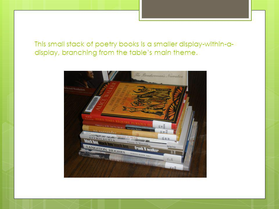 This small stack of poetry books is a smaller display-within-a- display, branching from the tables main theme.