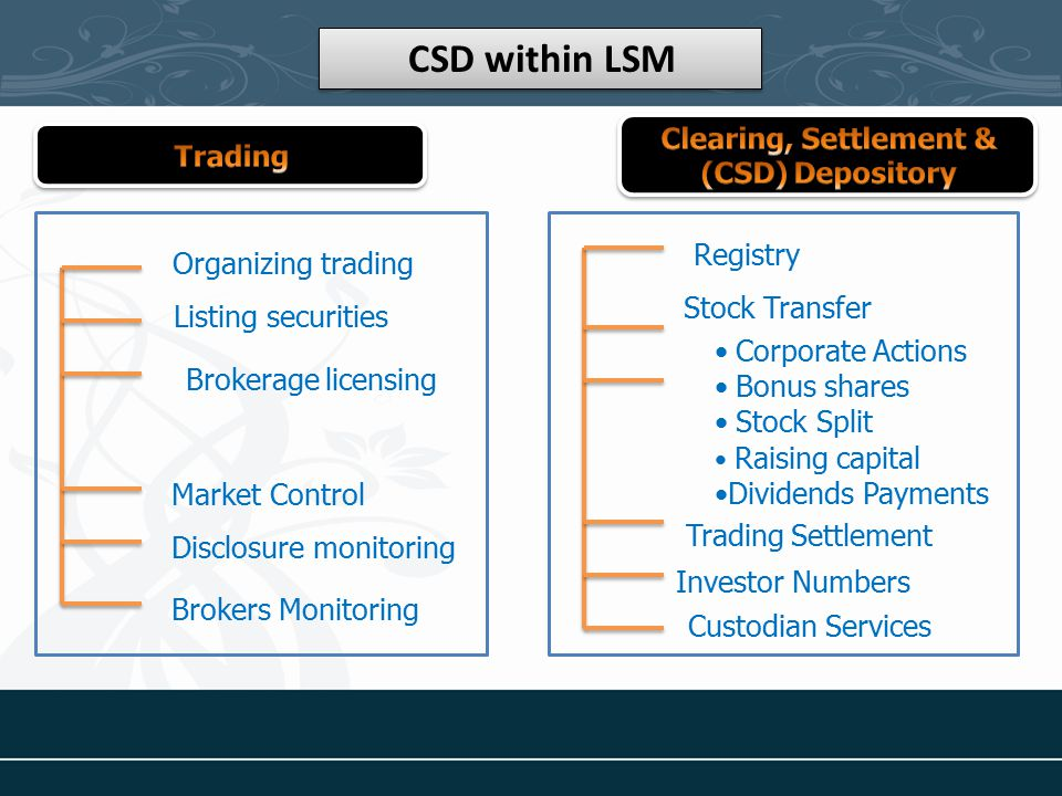 CSD within LSM Registry Stock Transfer Corporate Actions Bonus shares Stock Split Raising capital Dividends Payments Trading Settlement Investor Numbers Custodian Services Organizing trading Listing securities Brokerage licensing Market Control Brokers Monitoring Disclosure monitoring