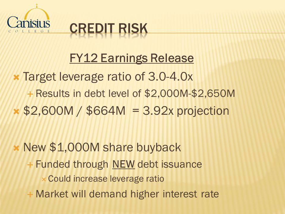 FY12 Earnings Release Target leverage ratio of 3.0-4.0x Results in debt level of $2,000M-$2,650M $2,600M / $664M = 3.92x projection New $1,000M share