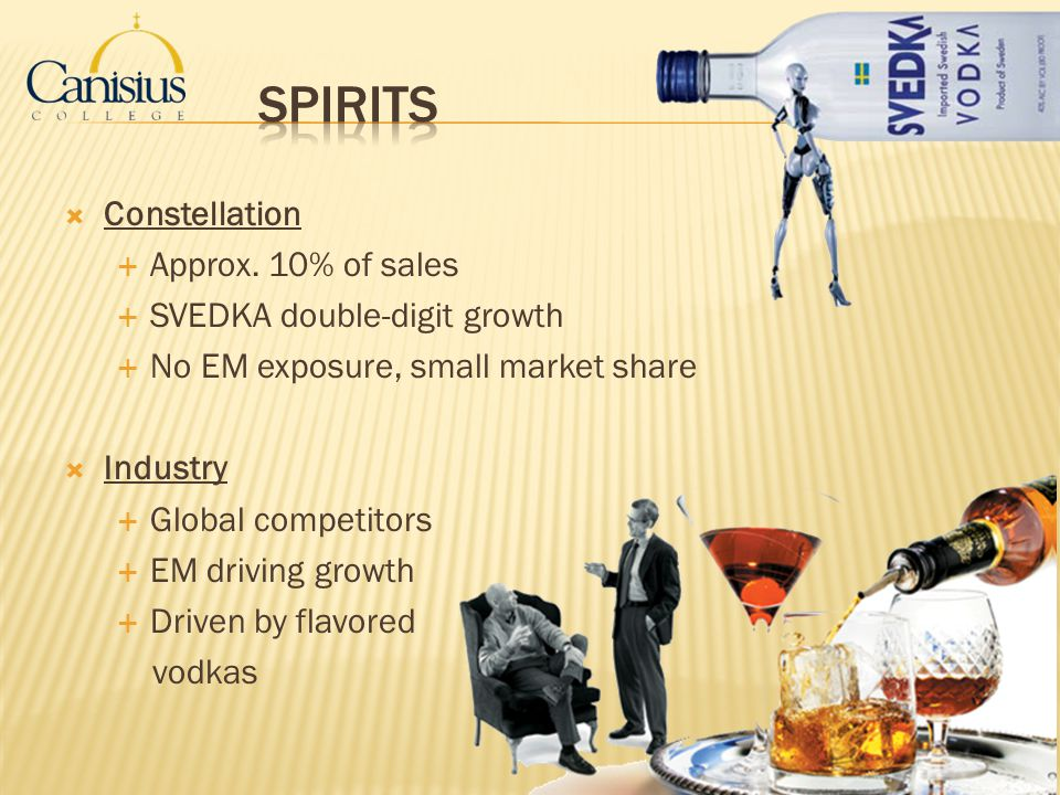 Constellation Approx. 10% of sales SVEDKA double-digit growth No EM exposure, small market share Industry Global competitors EM driving growth Driven