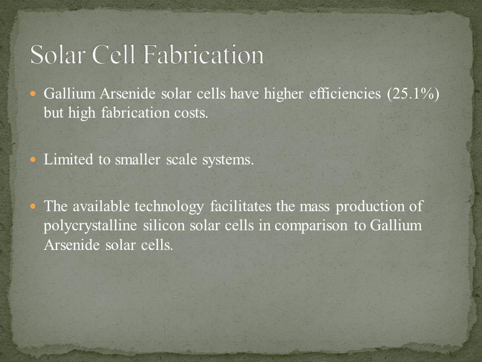 Gallium Arsenide solar cells have higher efficiencies (25.1%) but high fabrication costs.