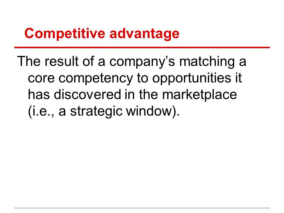 Competitive advantage The result of a companys matching a core competency to opportunities it has discovered in the marketplace (i.e., a strategic win