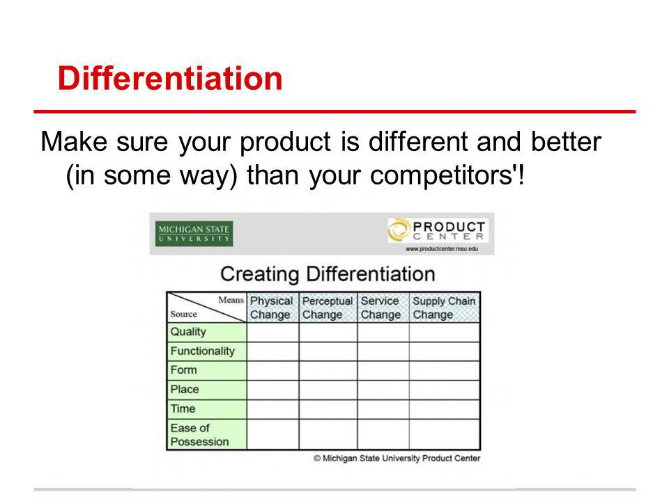 Differentiation Make sure your product is different and better (in some way) than your competitors !