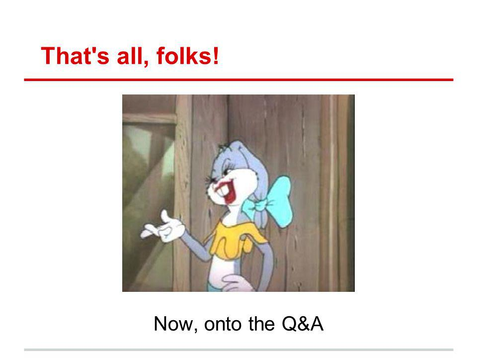 That's all, folks! Now, onto the Q&A