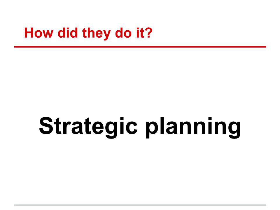 How did they do it? Strategic planning