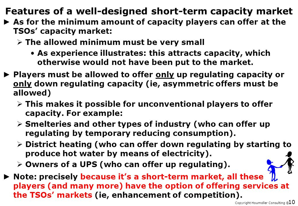 Copyright Houmoller Consulting © Features of a well-designed short-term capacity market As for the minimum amount of capacity players can offer at the TSOs capacity market: The allowed minimum must be very small As experience illustrates: this attracts capacity, which otherwise would not have been put to the market.