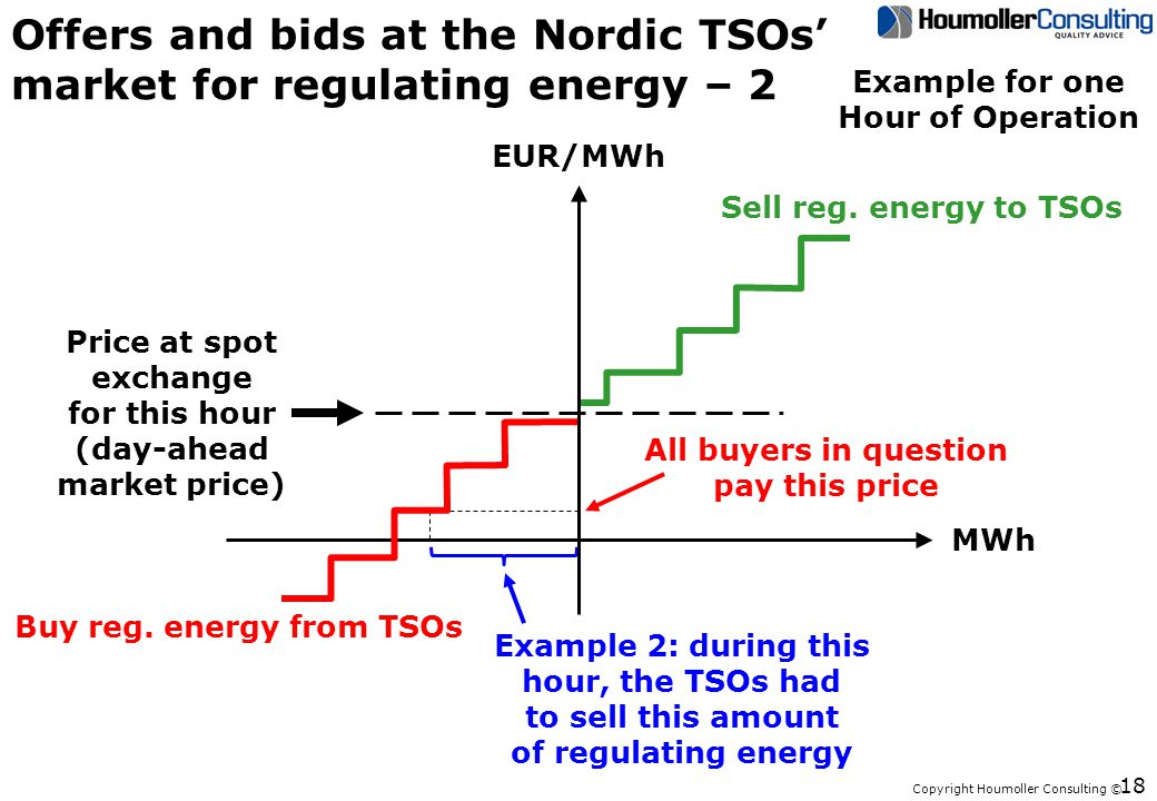 Copyright Houmoller Consulting © 18 Offers and bids at the Nordic TSOs market for regulating energy – 2 Sell reg.