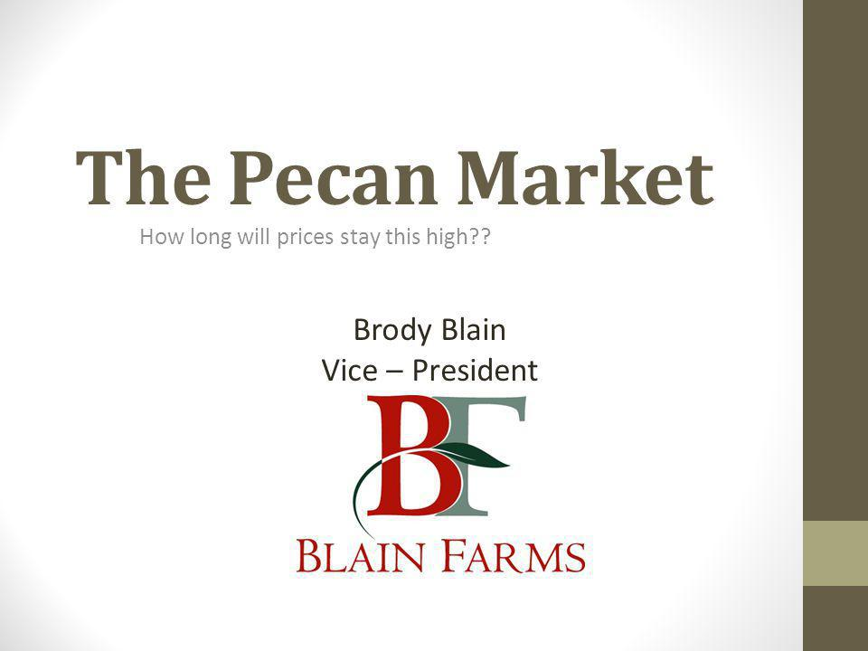 The Pecan Market How long will prices stay this high?? Brody Blain Vice – President