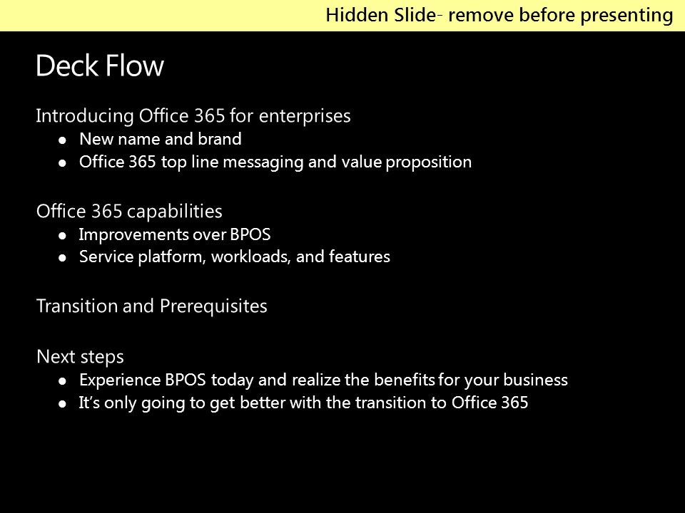 Deck Flow Introducing Office 365 for enterprises New name and brand Office 365 top line messaging and value proposition Office 365 capabilities Improv