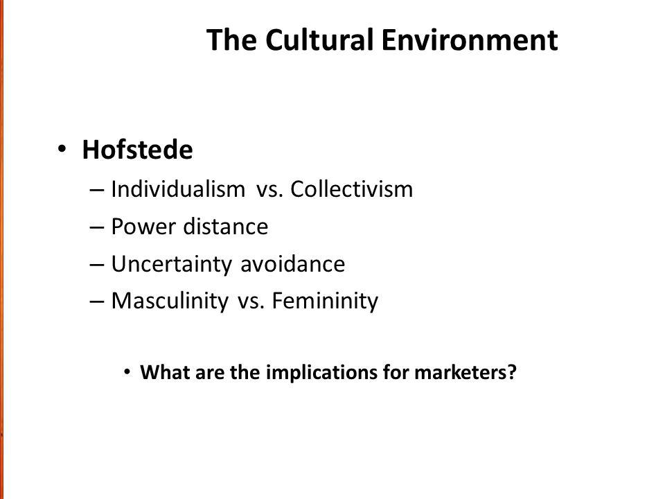 The Cultural Environment Hofstede – Individualism vs.