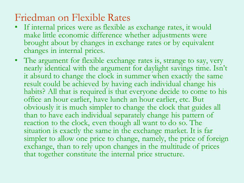 Market for Foreign Exchange Demand and supply for foreign exchange –Demand: where is all other factors that increase demand –Supply: where represents all other factors that increase supply –If there is no intervention then market clearing occurs atmarket clearing