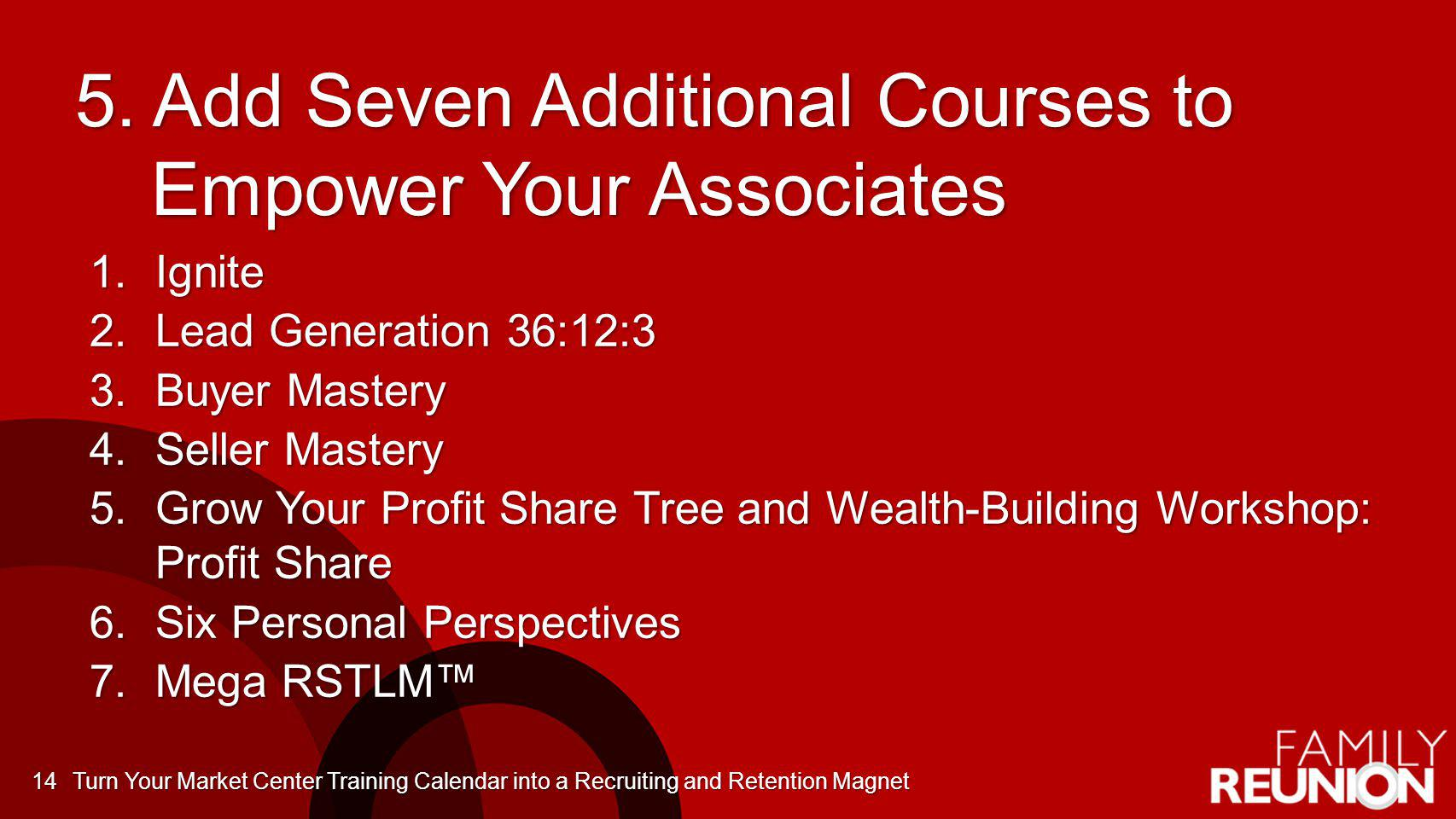 5. Add Seven Additional Courses to Empower Your Associates 1.Ignite 2.Lead Generation 36:12:3 3.Buyer Mastery 4.Seller Mastery 5.Grow Your Profit Shar