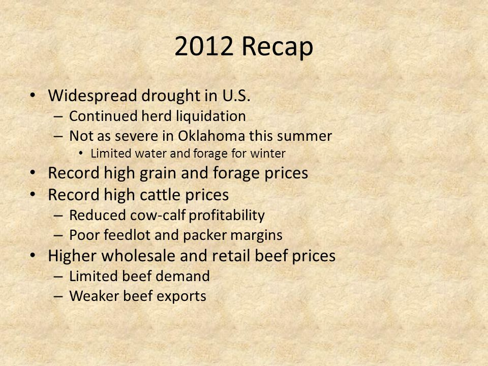 2012 Recap Widespread drought in U.S.