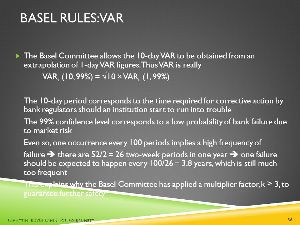 BASEL RULES: VAR The Basel Committee allows the 10-day VAR to be obtained from an extrapolation of 1-day VAR figures. Thus VAR is really VAR t (10, 99